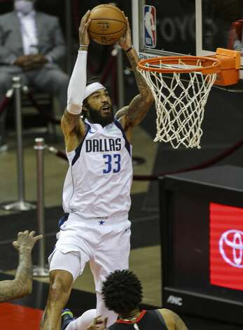 Dallas Mavericks center Willie Cauley-Stein (33) attempts but unsuccessful for a dunk during the first quarter of a NBA game against the Houston Rockets Monday, Jan. 4, 2021, at Toyota Center in Houston. Photo: Yi-Chin Lee/Staff Photographer / © 2021 Houston Chronicle