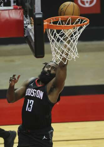 Houston Rockets guard James Harden (13) goes for a lay up during the second quarter of a NBA game against the Dallas Mavericks Monday, Jan. 4, 2021, at Toyota Center in Houston. Photo: Yi-Chin Lee/Staff Photographer / © 2021 Houston Chronicle