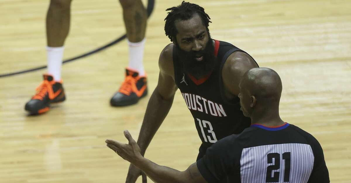 Houston Rockets guard James Harden (13) argues with a referee during the third quarter of a NBA game against the Dallas Mavericks Monday, Jan. 4, 2021, at Toyota Center in Houston.