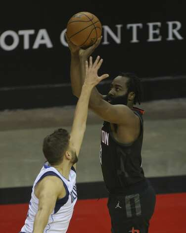 Houston Rockets guard James Harden (13) aims for a three point basket during the second quarter of a NBA game against the Dallas Mavericks Monday, Jan. 4, 2021, at Toyota Center in Houston. Photo: Yi-Chin Lee/Staff Photographer / © 2021 Houston Chronicle