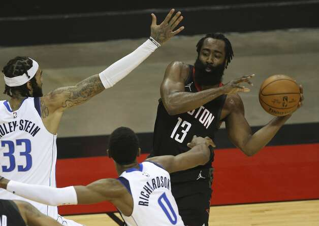 Houston Rockets guard James Harden (13) passes the ball during the second quarter of a NBA game against the Dallas Mavericks Monday, Jan. 4, 2021, at Toyota Center in Houston. Photo: Yi-Chin Lee/Staff Photographer / © 2021 Houston Chronicle