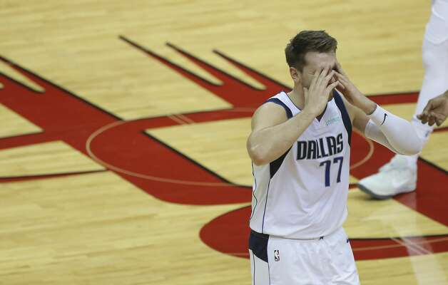 Dallas Mavericks guard Luka Doncic (77) reacts to being called a technical foul during the third quarter of a NBA game against the Houston Rockets Monday, Jan. 4, 2021, at Toyota Center in Houston. Photo: Yi-Chin Lee/Staff Photographer / © 2021 Houston Chronicle