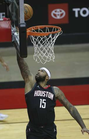 Houston Rockets center DeMarcus Cousins (15) scores a basket during the second quarter of a NBA game against the Dallas Mavericks Monday, Jan. 4, 2021, at Toyota Center in Houston. Photo: Yi-Chin Lee/Staff Photographer / © 2021 Houston Chronicle