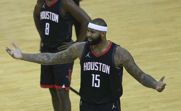 Houston Rockets center DeMarcus Cousins (15) reacts to a technical foul on him by referee John Goble during the second quarter of a NBA game Monday, Jan. 4, 2021, at Toyota Center in Houston. Photo: Yi-Chin Lee/Staff Photographer / © 2021 Houston Chronicle