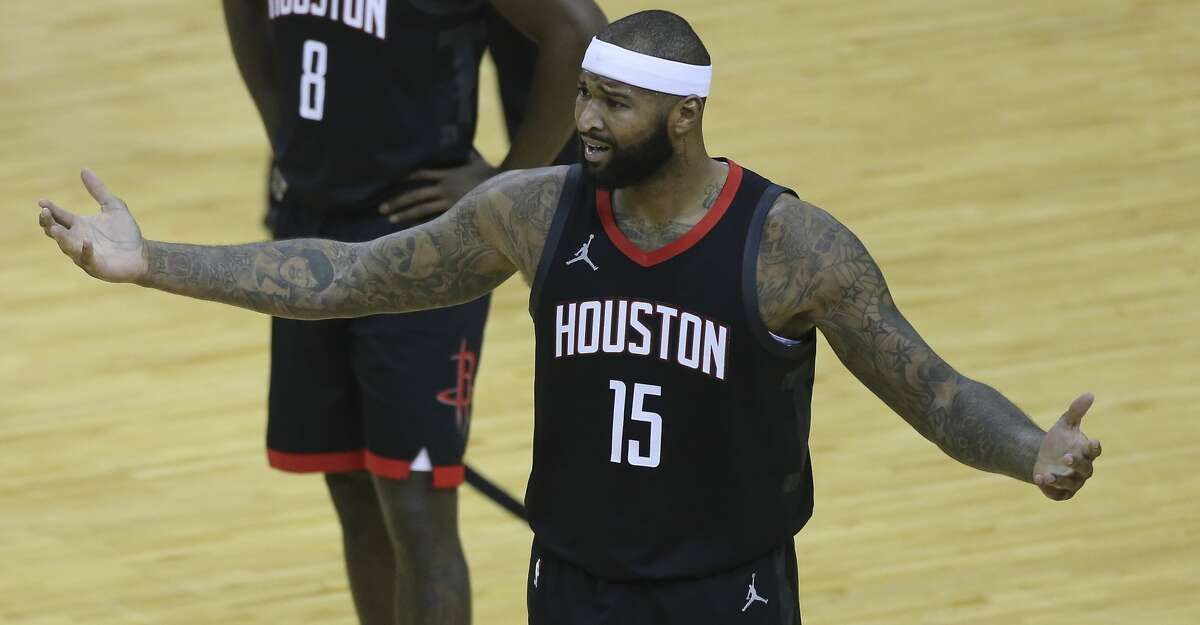 Houston Rockets center DeMarcus Cousins (15) reacts to a technical foul on him by referee John Goble during the second quarter of a NBA game Monday, Jan. 4, 2021, at Toyota Center in Houston.