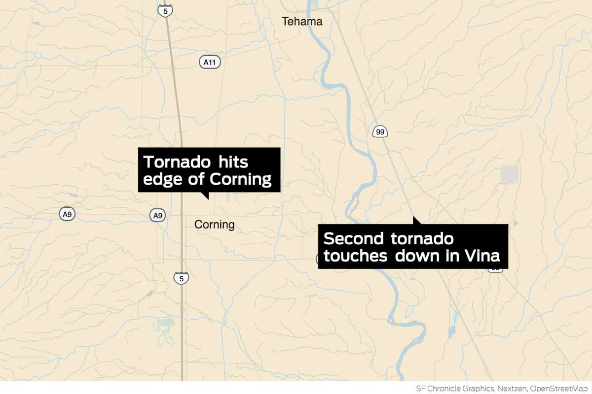 Two tornadoes touch down in Tehama County on Monday afternoon.
