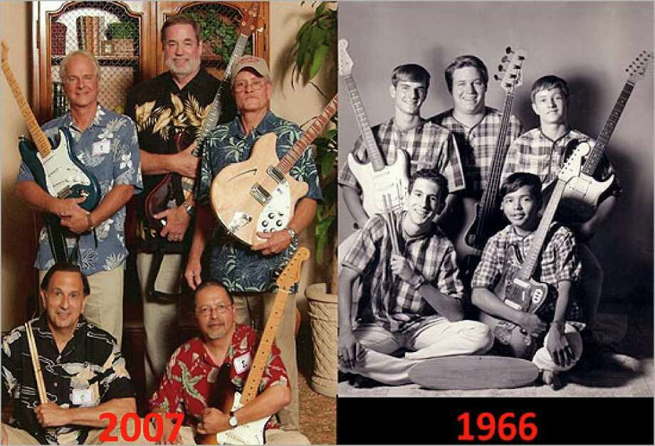 Members of the San Antonio garage rock surf band the Pipelines (right, in 1966) reunited in 2007. The band will play Canteen Fest on Sunday.