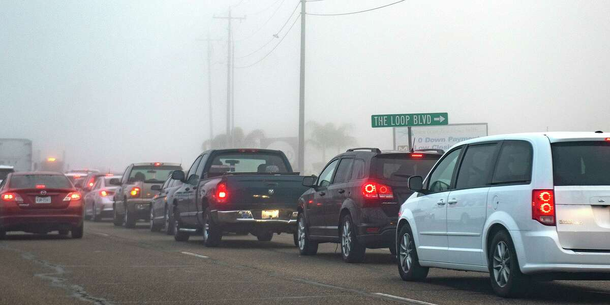 Traffic for the COVID-19 Vaccine extends to The Loop Boulevard from University Boulevard, Monday, Jan. 4, 2021, as Laredoans line up for a Covid-19 vaccine drive thru at TAMIU.