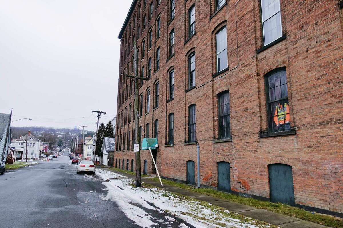 A view of the Standard Manufacturing building on Tuesday, Jan. 5, 2021, in Troy, N.Y. There are plans to turn the space into 151 apartment units with commercial space on the first floor. (Paul Buckowski/Times Union)