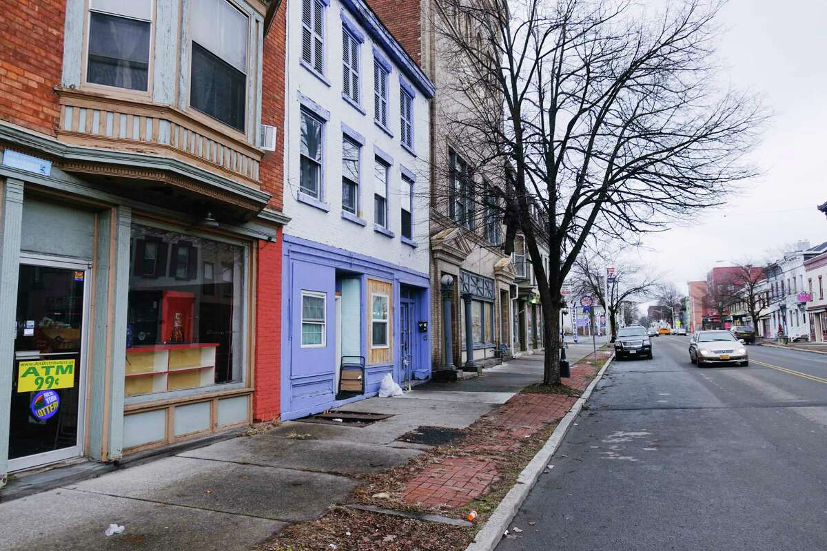 A view of a section of the business district along 2nd. Ave. on Tuesday, Jan. 5, 2021, in Troy, N.Y. (Paul Buckowski/Times Union)