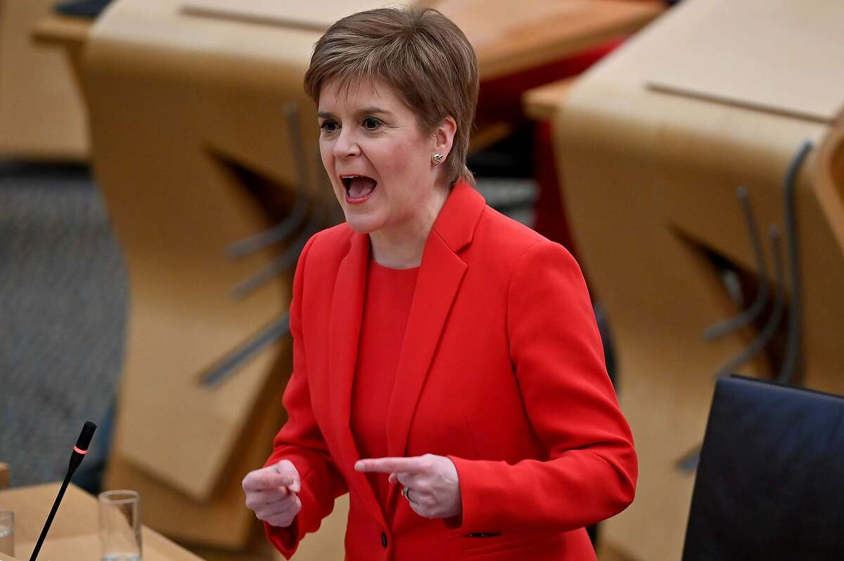 Scotland's First Minister Nicola Sturgeon speaks during the debate at the Scottish Parliament on the trade and co-operation agreement between the UK and the EU (European Union) on December 30, 2020 in Edinburgh, Scotland. (Photo by Jeff J Mitchell / POOL / AFP) (Photo by JEFF J MITCHELL/POOL/AFP via Getty Images)