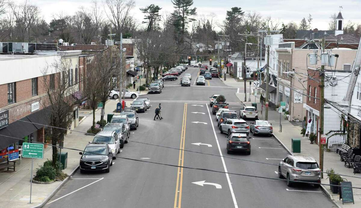 Sound Beach Avenue and the business district of Old Greenwich, Conn., photographed on Monday, Jan. 4, 2021.