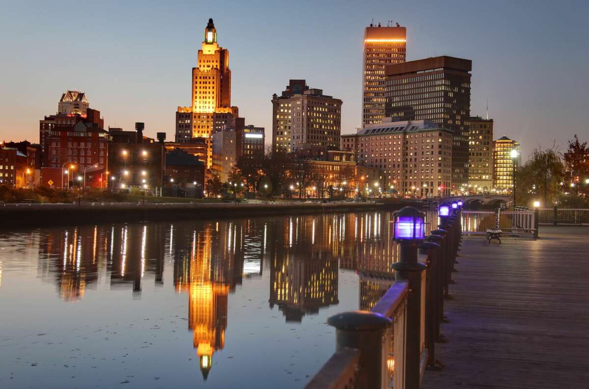 Providence Skyline reflecting on the Providence River.