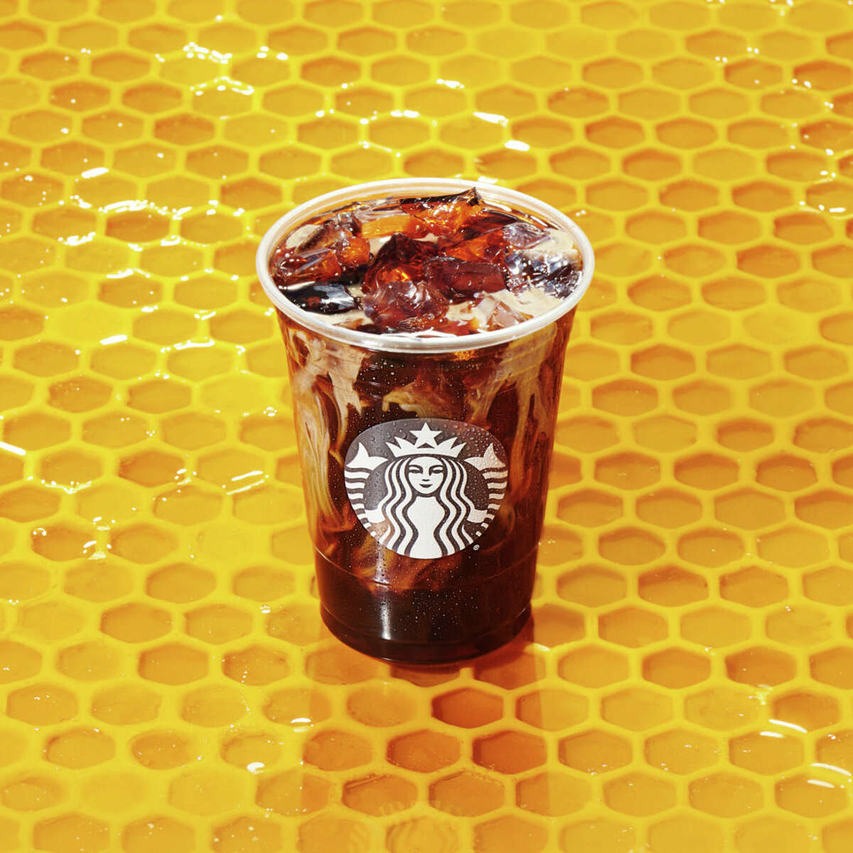 Honey Almondmilk Cold Brew from Starbucks. Honey Almondmilk Cold Brew As the name implies, this drink is made by combining cold brew coffee with honey and adding almond milk.
