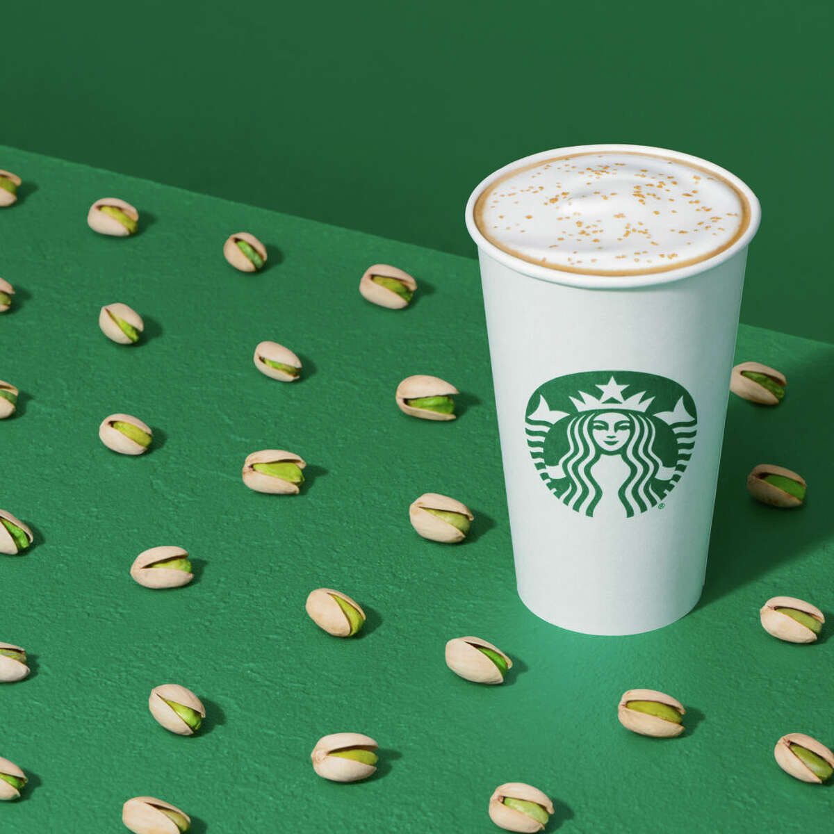 Pistachio Latte from Starbucks. Pistachio Latte This new sweet espresso drink is made with pistachio-infused milk and
