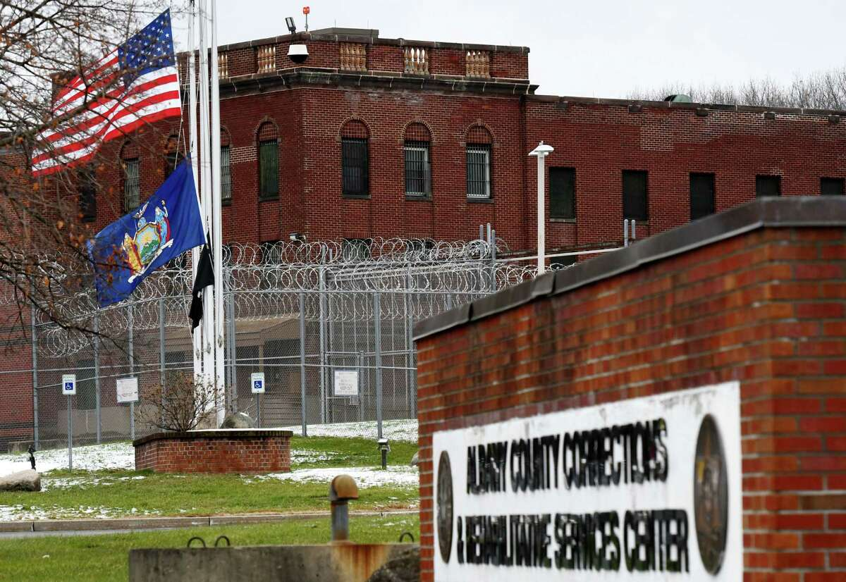 Exterior of the Albany County Correctional Facility on Tuesday, Jan. 5, 2021, in Colonie, N.Y. A dozen correctional officers and one medical worker at the Albany County jail have tested positive for coronavirus within the past two weeks. (Will Waldron/Times Union)