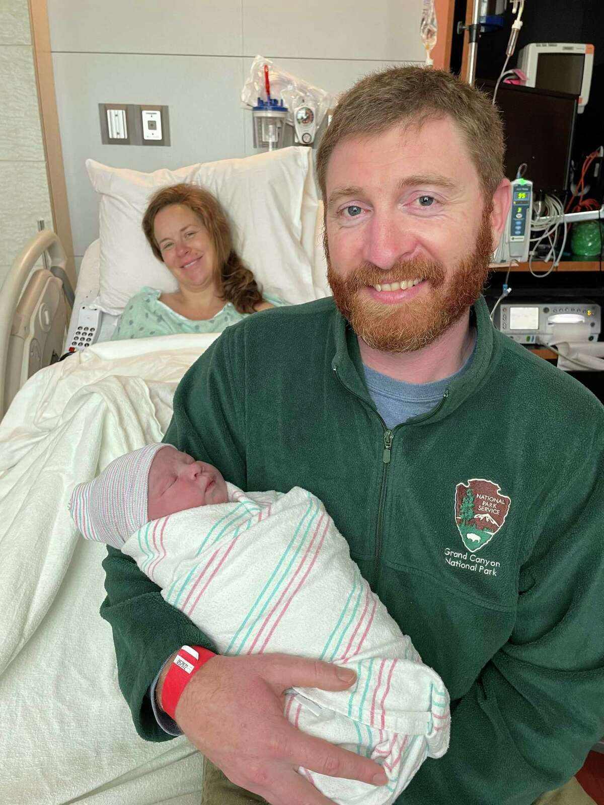 Born at 8:09 a.m. on Friday, Jan. 1, Timothy Jethro Logan was Memorial Hermann Katy Hospital's first birth of 2021. He is pictured here with his parents, Greg and Rebekah Logan.