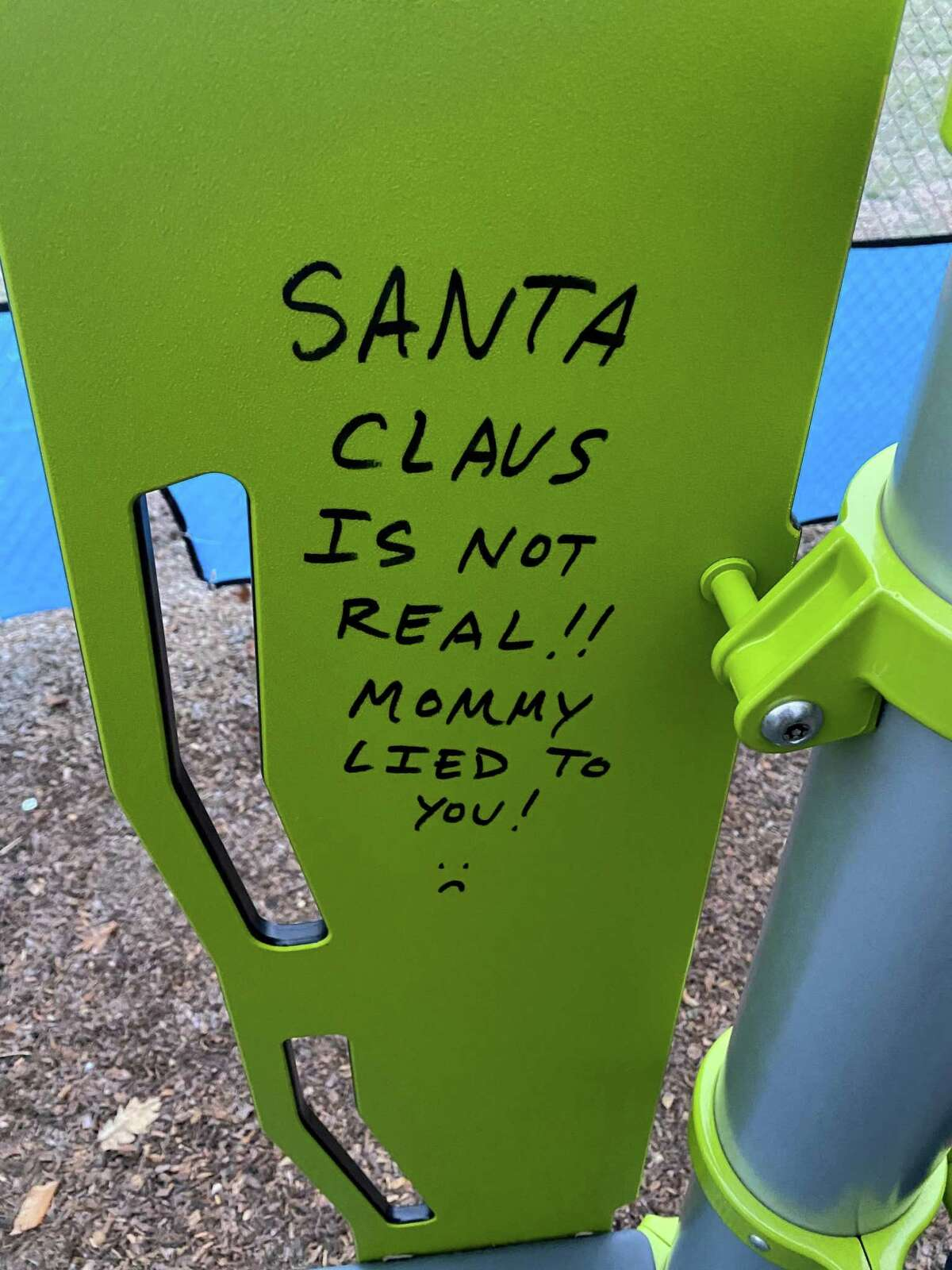 Two play structures at the Norwalk Early Childhood Center and one at Naramake Elementary School were vandalized with the message