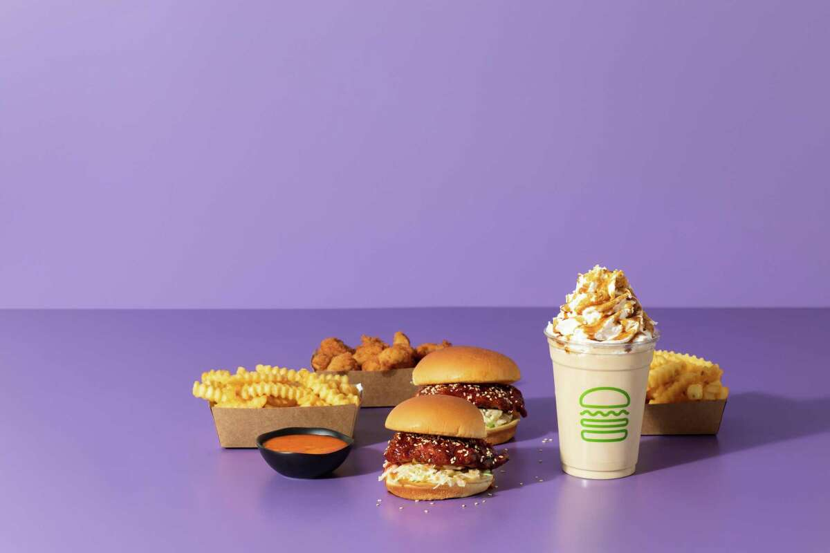 Shake Shack's new Korean-inspired items include a fried chicken sandwich with gochujang and kimchi; chicken bites and fries with gochujang mayo sauce, and a black sugar vanilla shake.