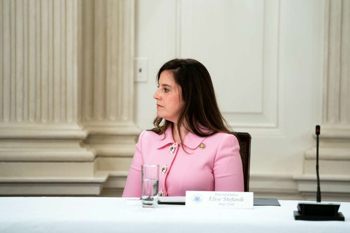 Rep. Elise Stefanik, R-Schuylerville, during a meeting at the White House on May 8th, 2020. Stefanikhas announced that she will join the effort to object to the certification of each state's electoral votes on Wednesday, Jan. 6, 2021. (Anna Moneymaker/The New York Times)