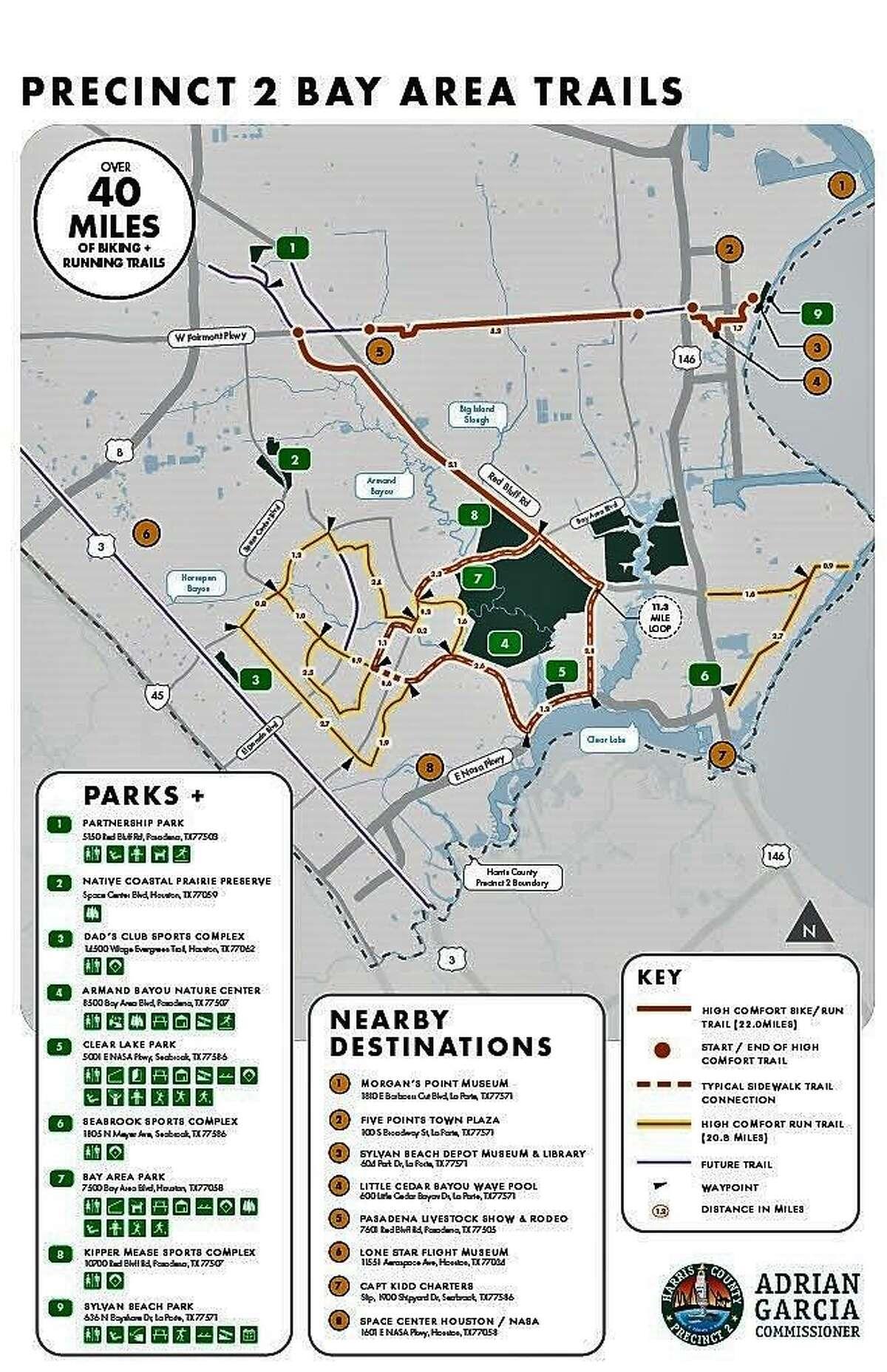 Precinct 2 has a network of trails in the Pasadena-Bay Area.
