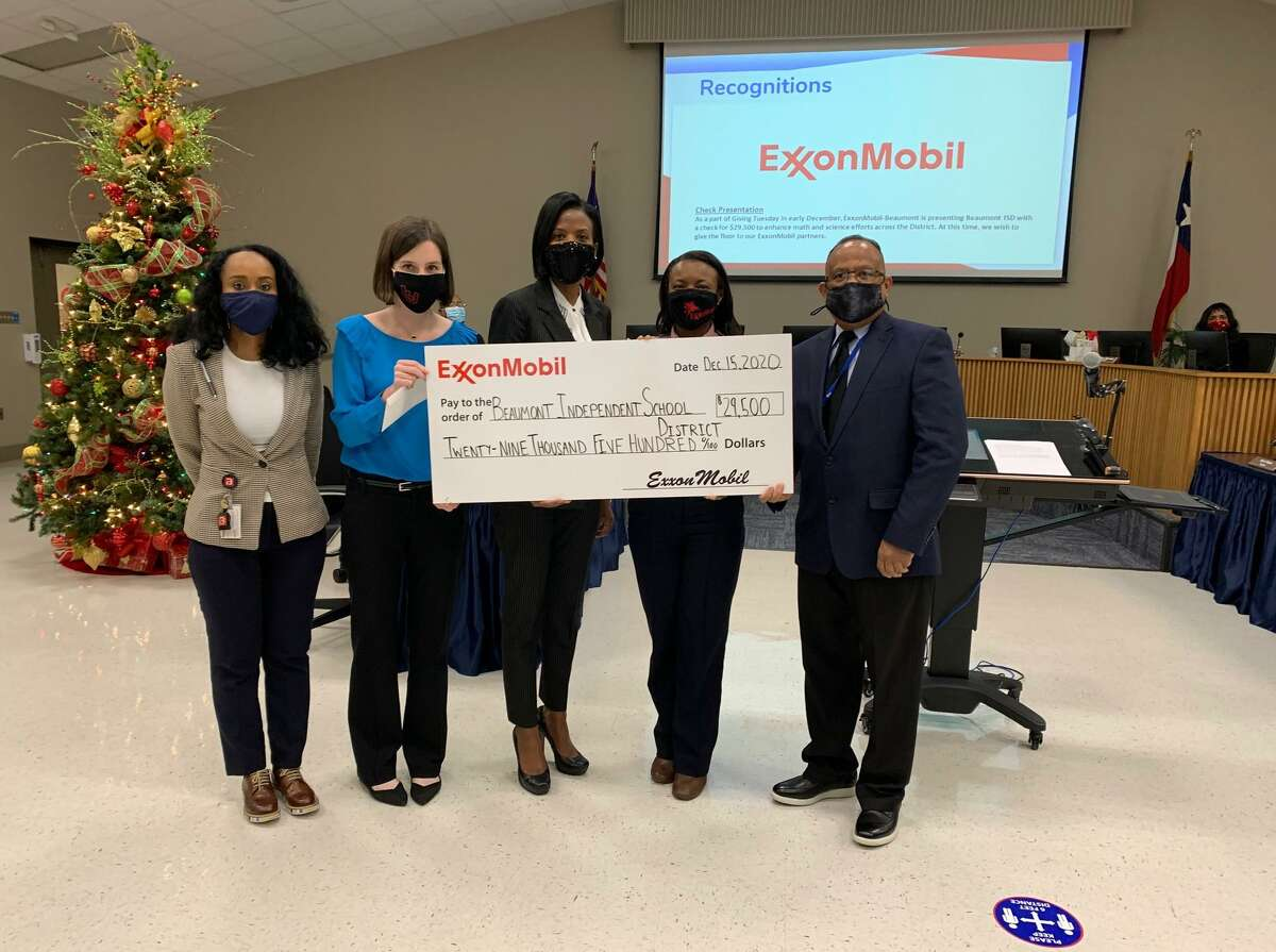 Representatives from ExxonMobil presented Beaumont ISD with a check to be used to enhance the districts focus on STEM. Photo taken Dec. 15, 2020.