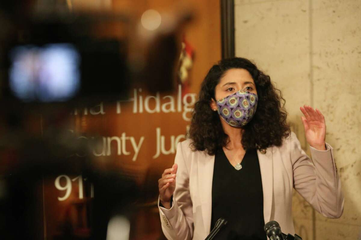 Harris County Judge Lina Hidalgo says the region is subject to the state's rollbacks in essential business occupancy based on the current surging in local COVID-19 hospitalization rates during a press conference Tuesday, Jan. 5, 2021, in Houston. Hidalgo said the public should take this as a warning to be vigilant, and also encouraged the public to receive the vaccines if they are qualified.