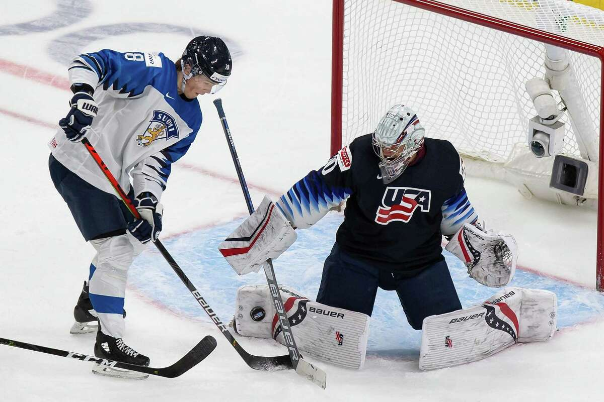United States goaltender Spencer Knight stops Finland's Henri Nikkanen during the IIHF World Junior Championship semifinals at Rogers Place in Edmonton, Canada, on Monday.