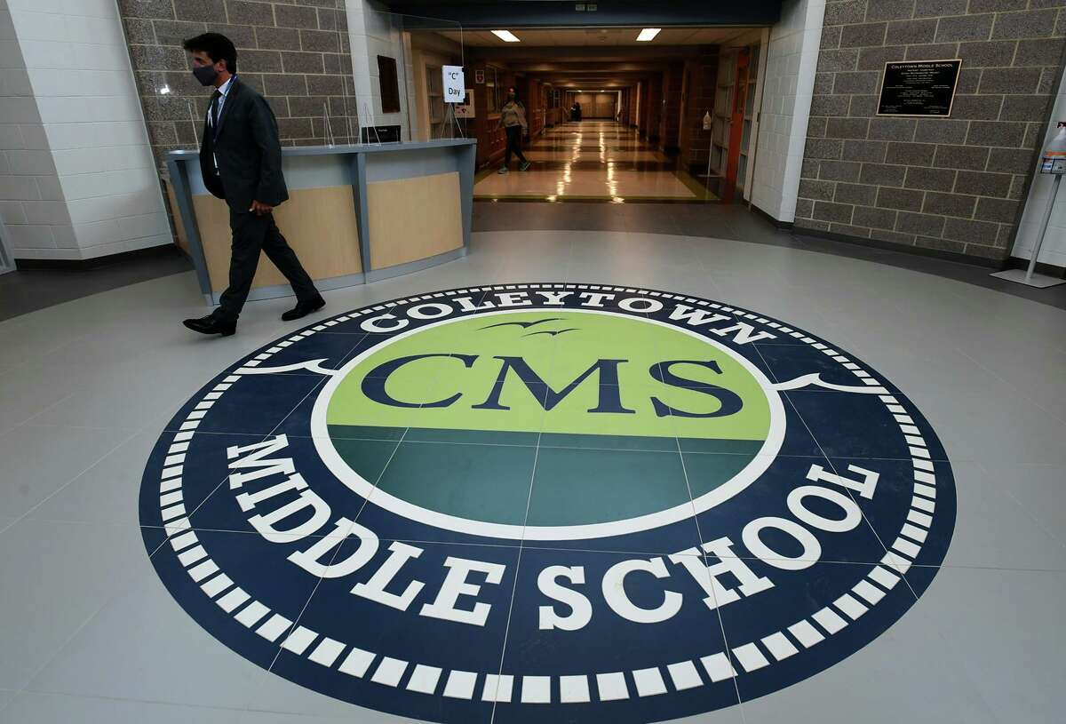 The newly renovated Coleytown Middle School on opening day Tuesday, January 5, 2021, in Westport, Conn.