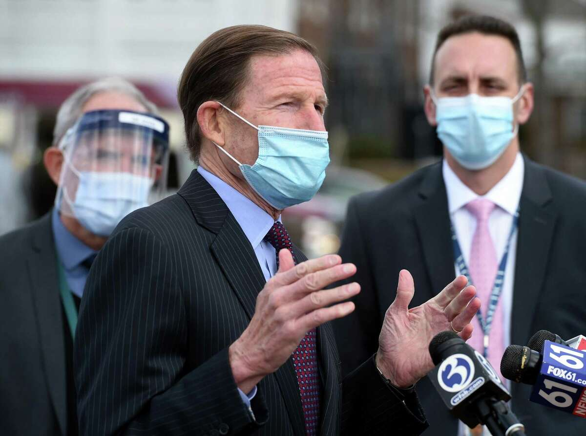 U.S. Sen. Richard Blumenthal speaks at a press conference announcing the start of COVID-19 vaccinations for veteran's at the Veteran's Affairs medical center in West Haven Jan. 5, 2021. At right is VA Connecticut Healthcare Director Alfred Montoya Jr.
