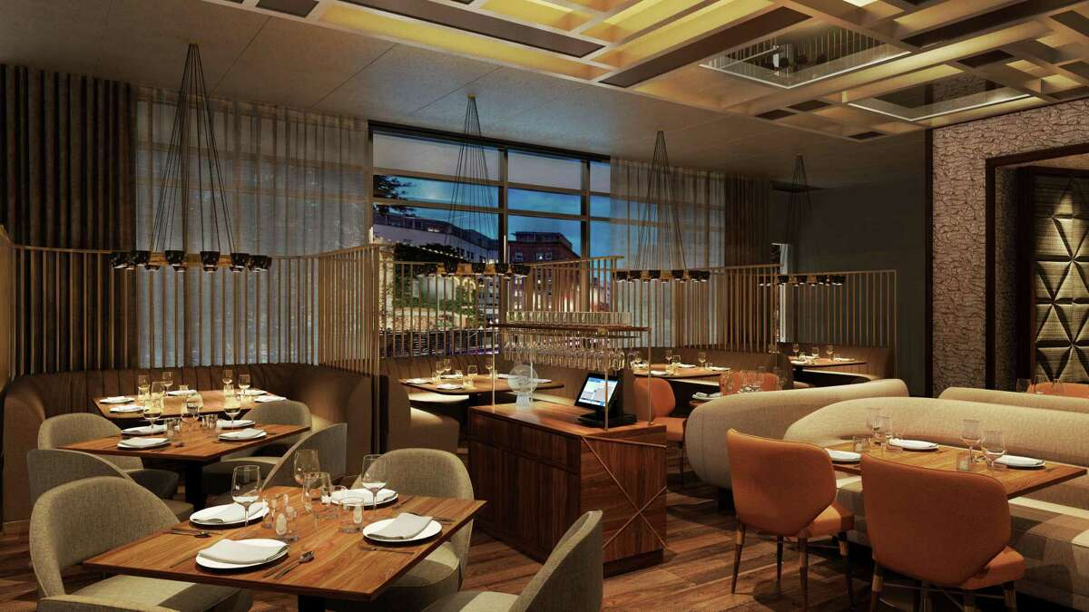 Rendering of the dining room in Landrace, a new restaurant from chef Steve McHugh opening in the Thompson San Antonio hotel.