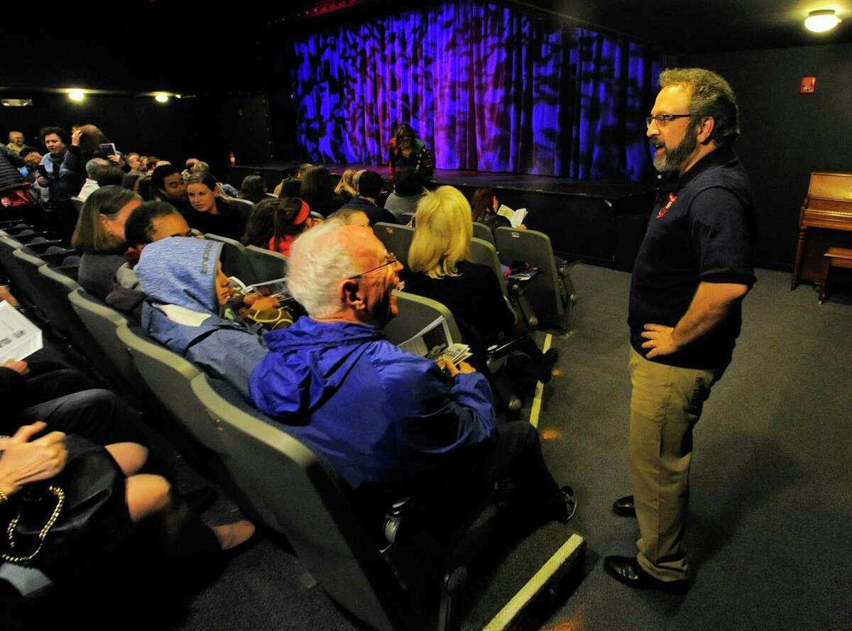 Executive Director Lou Ursone, at right, chats with guests prior to the opening of the musical performance of Disney's Beauty and the Beast at the Curtain Call at the Kweskin Theatre in Stamford, Conn on March 31, 2017. The production runs through April 29th, for information please call 203-329-8207 or visit www.CurtainCallInc.com.