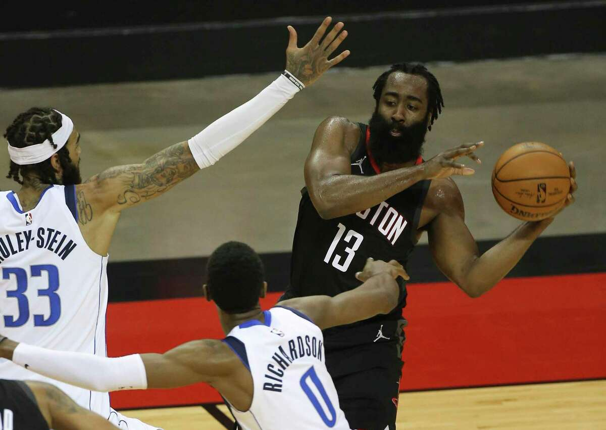 James Harden and the Rockets struggled on offense against the Mavericks on Monday as Houston is working out the kinks of a new system.