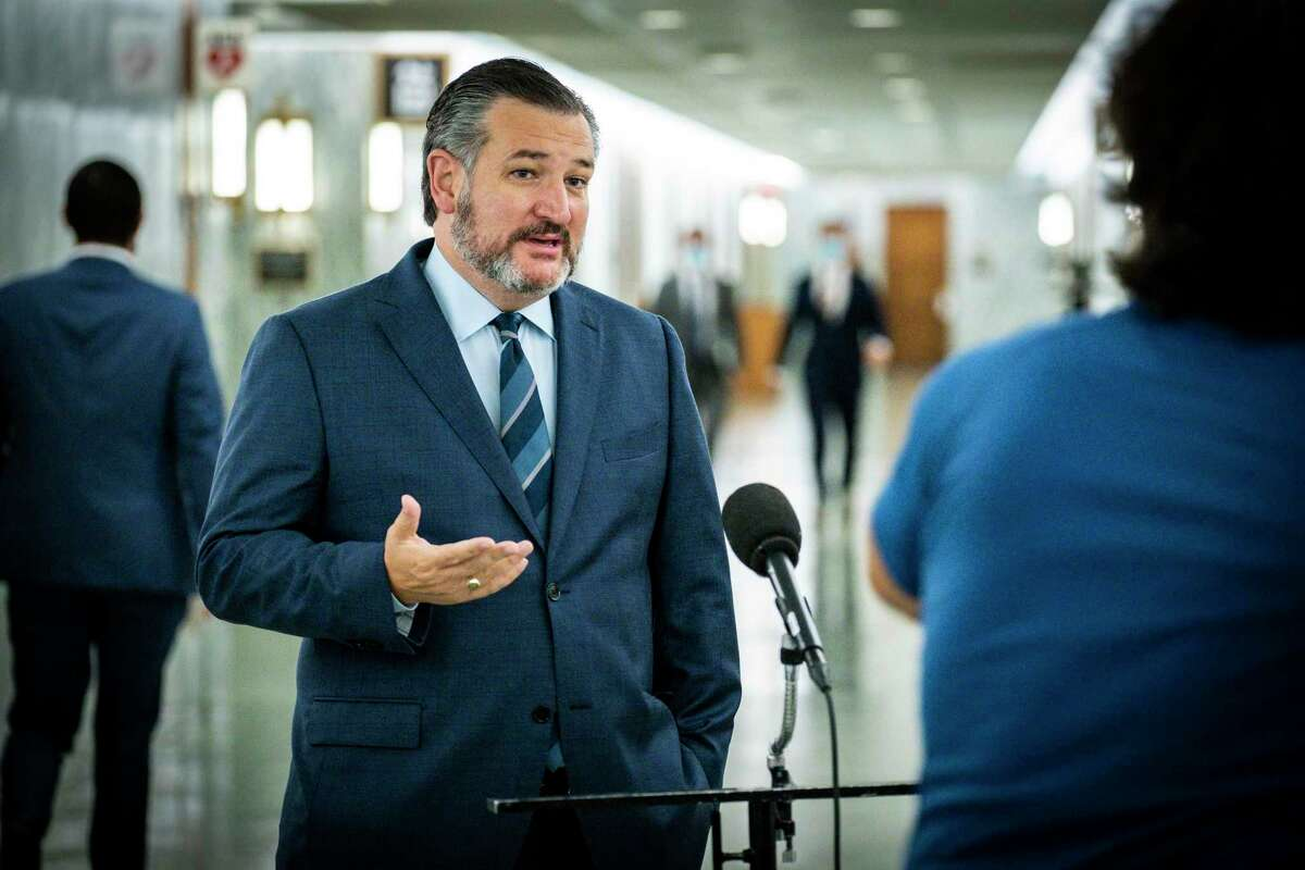 FILE -- Sen. Ted Cruz (R-Texas) speaks to reporters on Capitol Hill in Washington, Oct. 22, 2020. The Texas Republican was once the victim of President Donald Trump's false claims of election fraud - now he is perpetuating them.