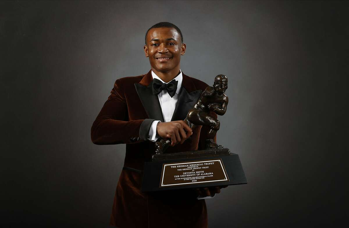 DeVonta Smith is the fourth receiver to win the Heisman Trophy, after Michigan's Desmond Howard (1991), Notre Dame's Tim Brown (1987) and Nebraska's Johnny Rodgers (1972).