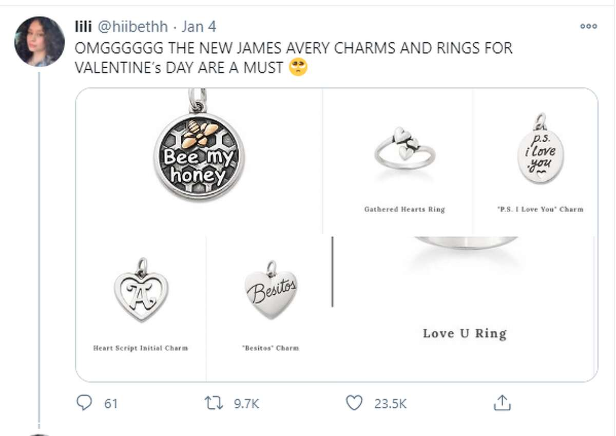 Twitter reactions to the Valentine's Day collection from James Avery.