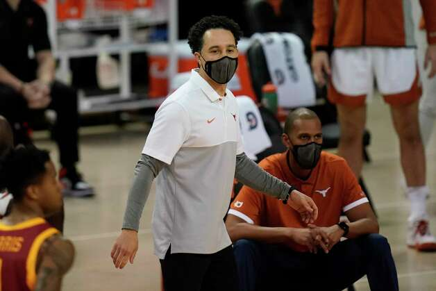 Texas head coach Shaka Smart watches from the bench during the first half of an NCAA college basketball game against Iowa State, Tuesday, Jan. 5, 2021, in Austin, Texas. (AP Photo/Eric Gay) Photo: Eric Gay, Associated Press / Copyright 2021 The Associated Press. All rights reserved.