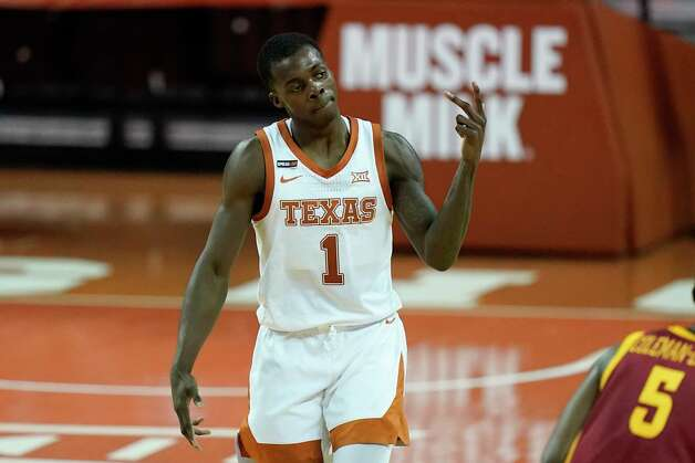 Texas guard Andrew Jones celebrates after making a 3-point basket during the second half of an NCAA college basketball game against Iowa State, Tuesday, Jan. 5, 2021, in Austin, Texas. (AP Photo/Eric Gay) Photo: Eric Gay, Associated Press / Copyright 2021 The Associated Press. All rights reserved.