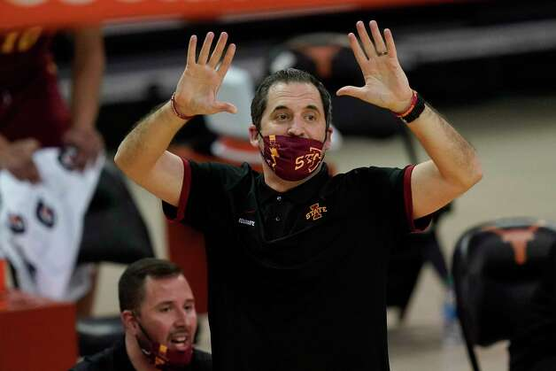 Iowa State head coach Steve Prohm directs his team during the first half of an NCAA college basketball game against Texas, Tuesday, Jan. 5, 2021, in Austin, Texas. (AP Photo/Eric Gay) Photo: Eric Gay, Associated Press / Copyright 2021 The Associated Press. All rights reserved.