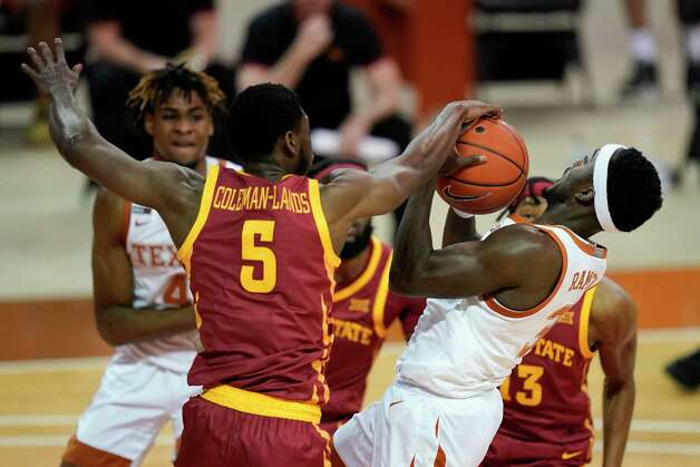 Iowa State guard Jalen Coleman-Lands (5) fights for a rebound with Texas guard Courtney Ramey, right, during the first half of an NCAA college basketball game, Tuesday, Jan. 5, 2021, in Austin, Texas. (AP Photo/Eric Gay) Photo: Eric Gay, Associated Press / Copyright 2021 The Associated Press. All rights reserved.