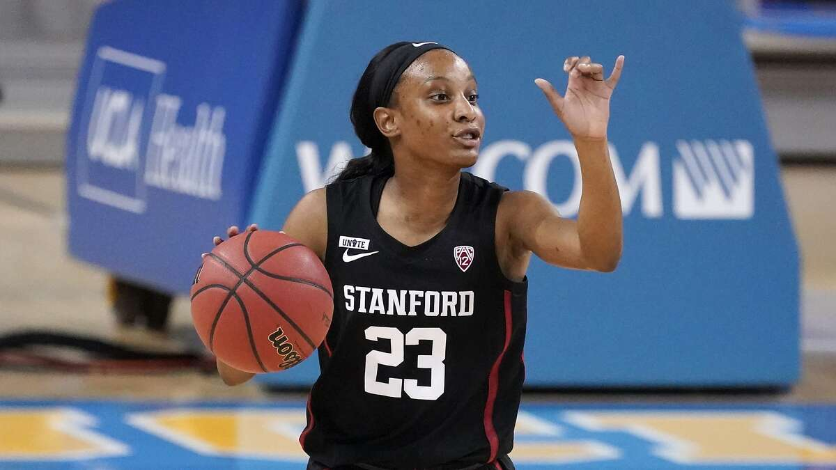 Stanford guard Kiana Williams dribbles against UCLA during an NCAA college basketball game Monday, Dec. 21, 2020, in Los Angeles.