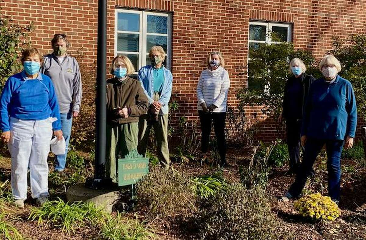 The Civic Beautification team from the Garden Club of Woodbridge has finished for the year. The team worked to keep Woodbridge beautiful throughout the pandemic. Pictured from left are Marie Dube, Cindy Marien, Muffy German, Barbara Baldwin, Mary Klochkoff, Nancy LaBianca, and chairman Pat Croasmun. The team is shown working at the Woodbridge Town Library, one of the municipal gardens maintained by the garden club. This is just one of the civic activities provided by the club to the town. New members are welcome. Contact Judy Mamber at jsmam@aol.com for information.