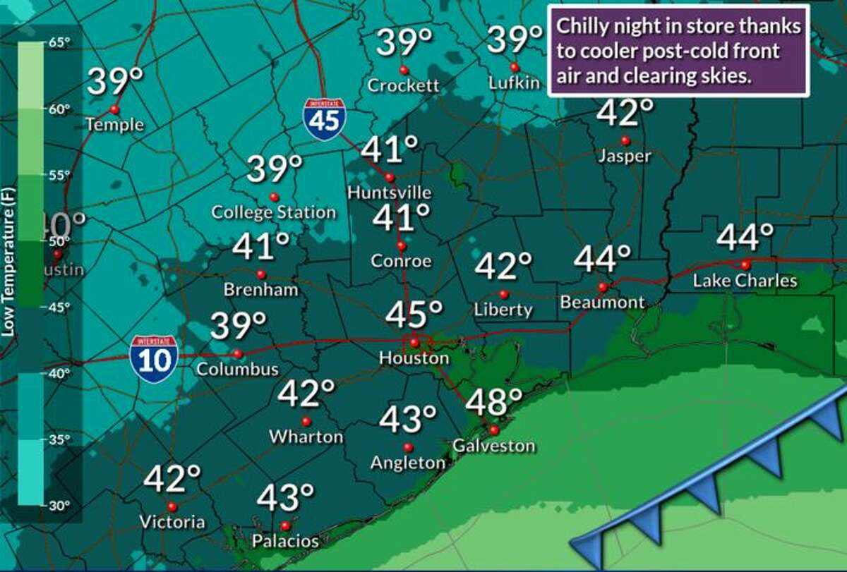 Houston will be hit with a cold front Wednesday afternoon that will bring scattered showers and potentially severe weather to the region, according to the National Weather Service.