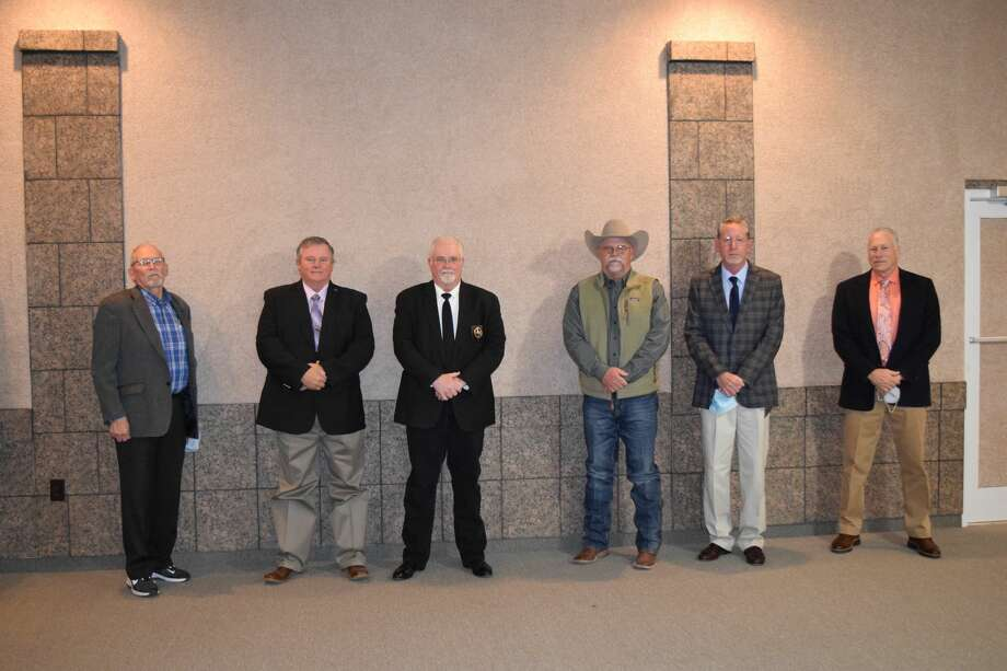 Pictured L-R: Roland Nash, tax assessor-collector; Terry Timms, constable for precinct 3; Tommy Baker, constable for precinct 1; David Cochran, sheriff; Harold King, commissioner for precinct 1; Kenny Kernell, commissioner for precinct 3. Photo: Ellysa Harris/Plainview Herald