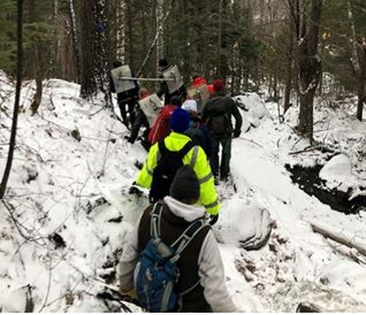 Rescuers carried a hiker who took a 30-foot fall in the Adirondacks last week.