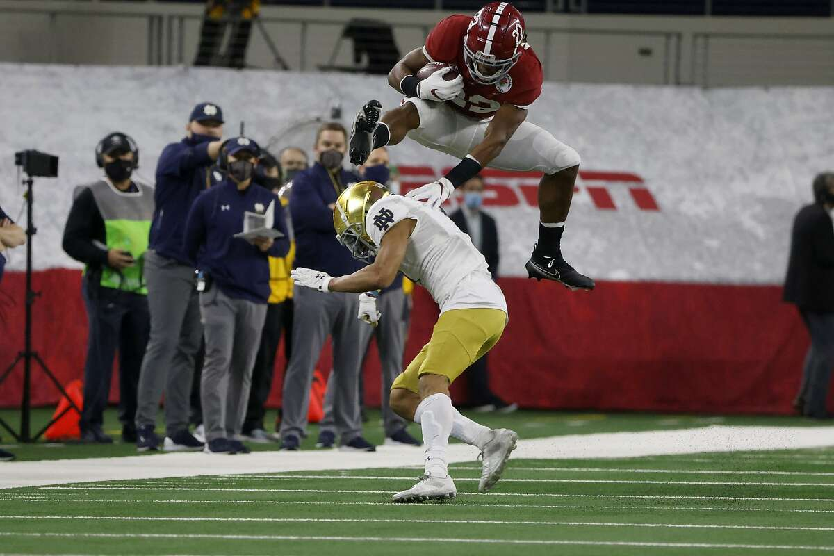Left, Najee Harris, playing for Antioch High School, vaults over Freedom-Oakley defender Jared Rodgers in a game on Oct. 7, 2016. Right, Harris hurdles Notre Dame cornerback Nick McCloud for a long gain in the Rose Bowl on Jan. 1 in Arlington, Texas.