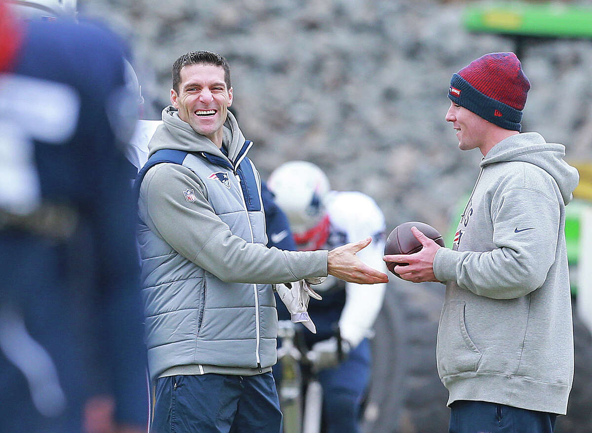 New England Patriots director of player personnel Nick Caserio smiles at practice at Gillette Stadium on Wednesday, January 4, 2017.