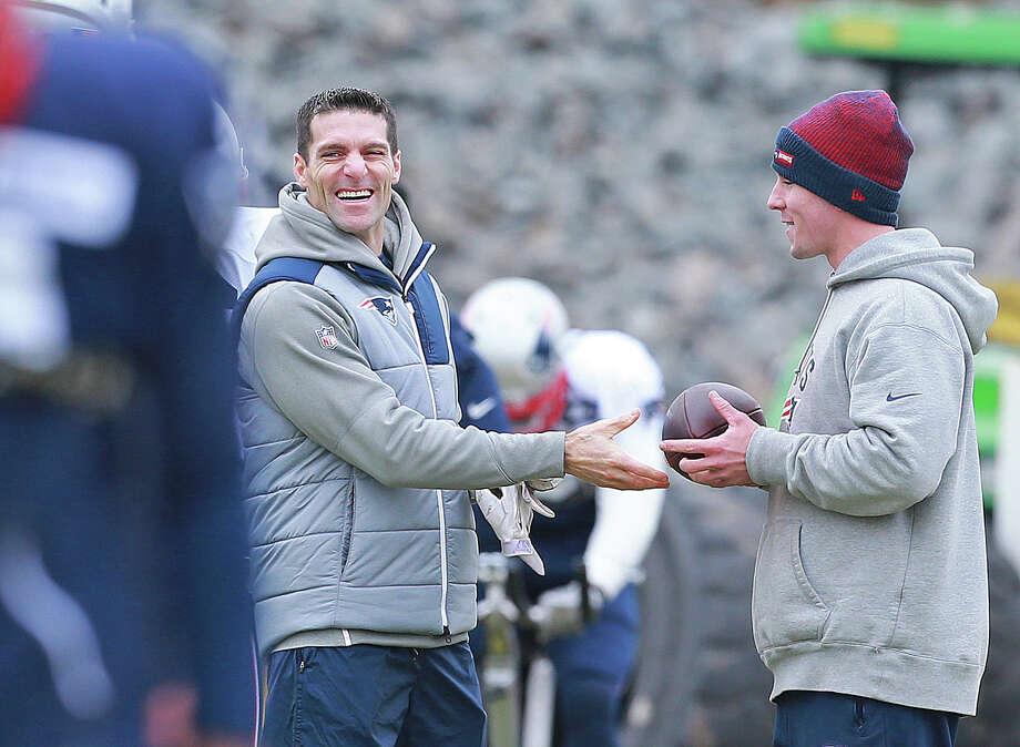 New England Patriots director of player personnel Nick Caserio smiles at practice at Gillette Stadium on Wednesday, January 4, 2017. Photo: MediaNews Group/Boston Herald Vi/MediaNews Group Via Getty Images / Matt West