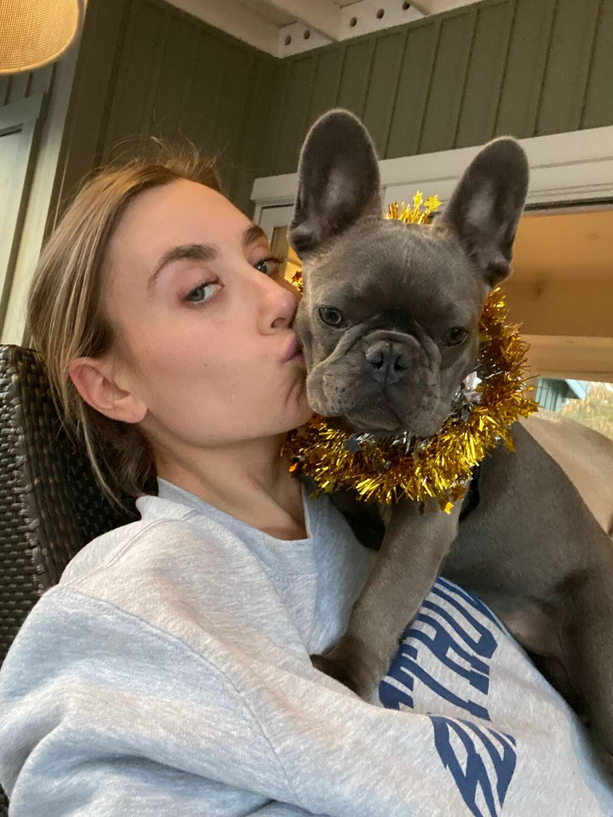 San Francisco resident Sarah Vorhaus with her French bulldog Chloe. She was walking her two dogs in Russian Hill on Jan. 5, 2021, when she was assaulted at gunpoint, she says. The suspects stole her 5-month-old dog, police say.