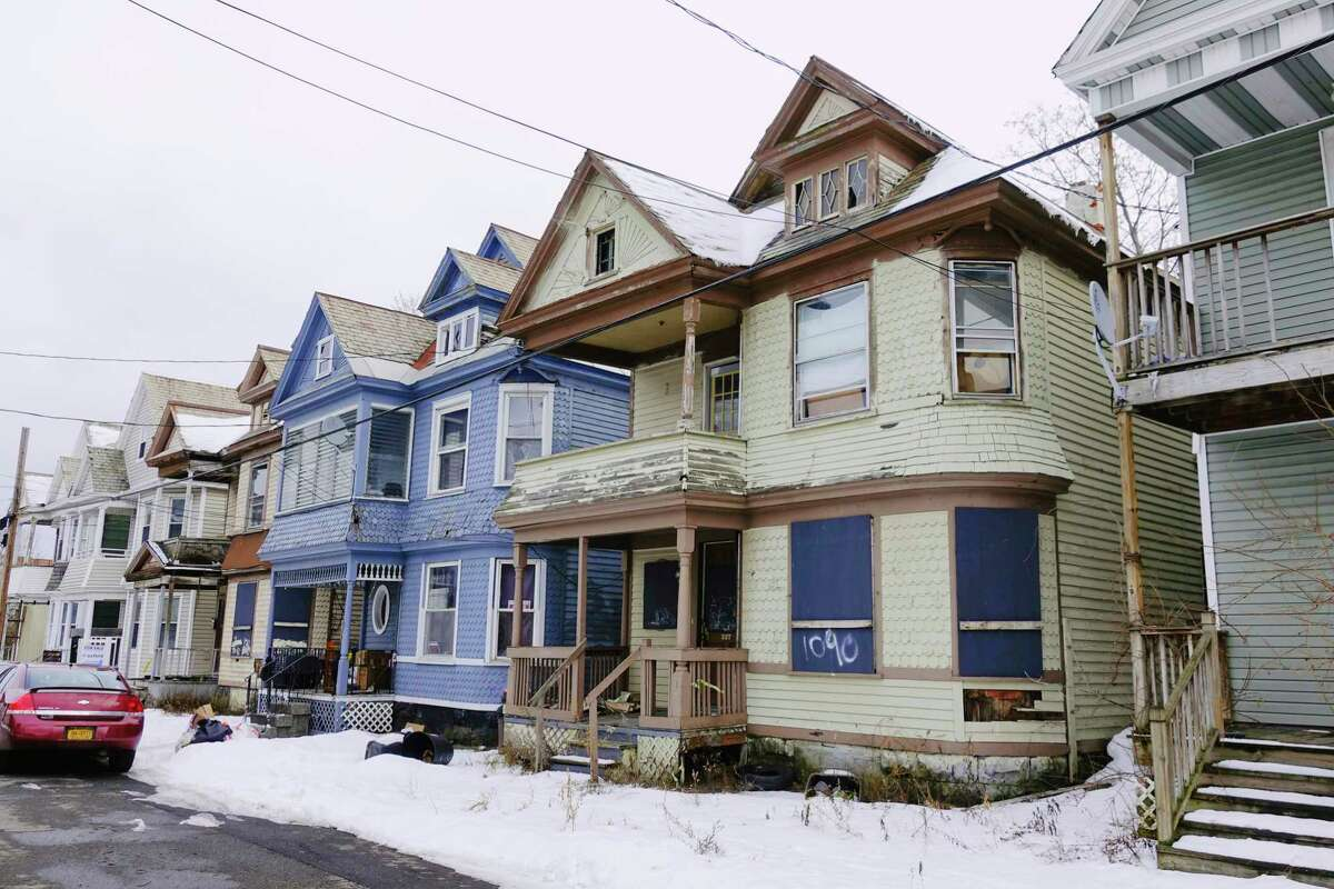 A view of the home at 337 Germania Ave, on right, a Schenectady city-owned property, seen here on Wednesday, Jan. 6, 2021, in Schenectady, N.Y. (Paul Buckowski/Times Union)